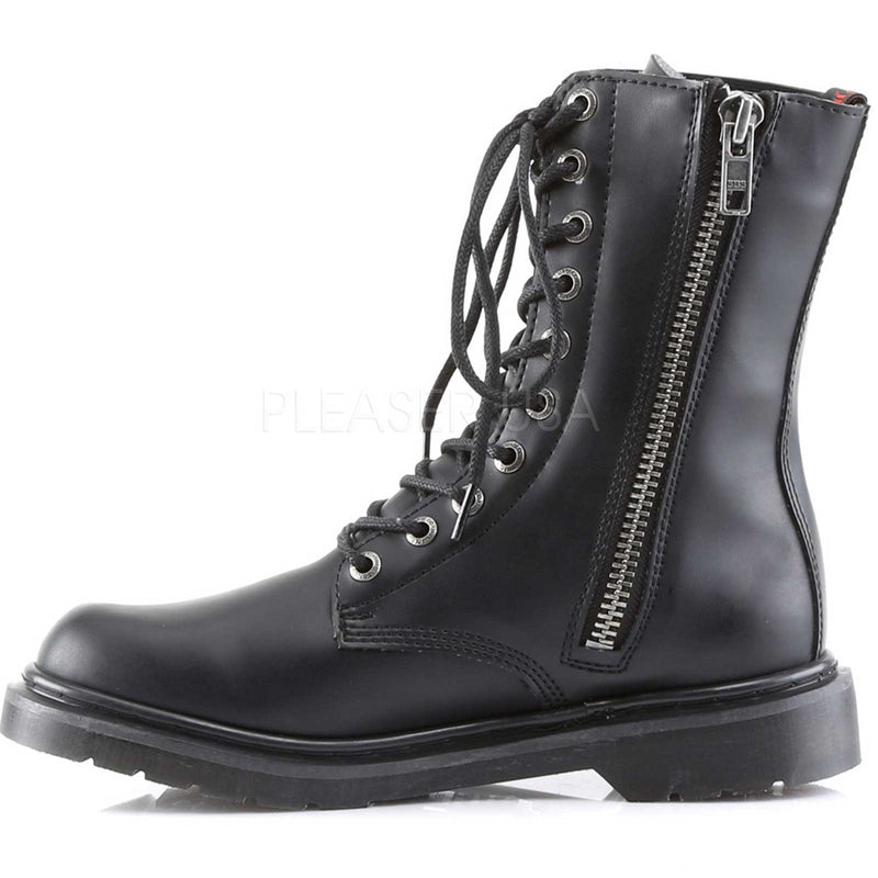 Black 10 Eyelet Mens Goth Punk Military Ankle High Combat Boots Alternative
