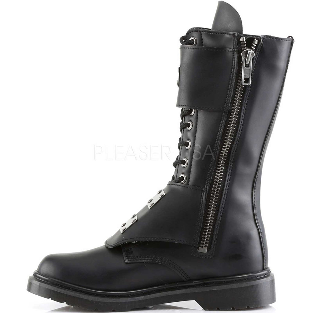 Black Matte 14 Eyelet Mens Goth Punk Military Mid Calf Combat Boots Alternative
