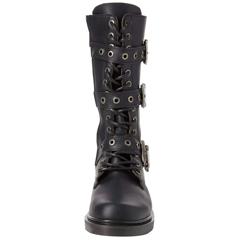 Black Alternative Goth Punk Mid Calf Combat Boots 3 Buckle DEMONIA DEFIANT-303