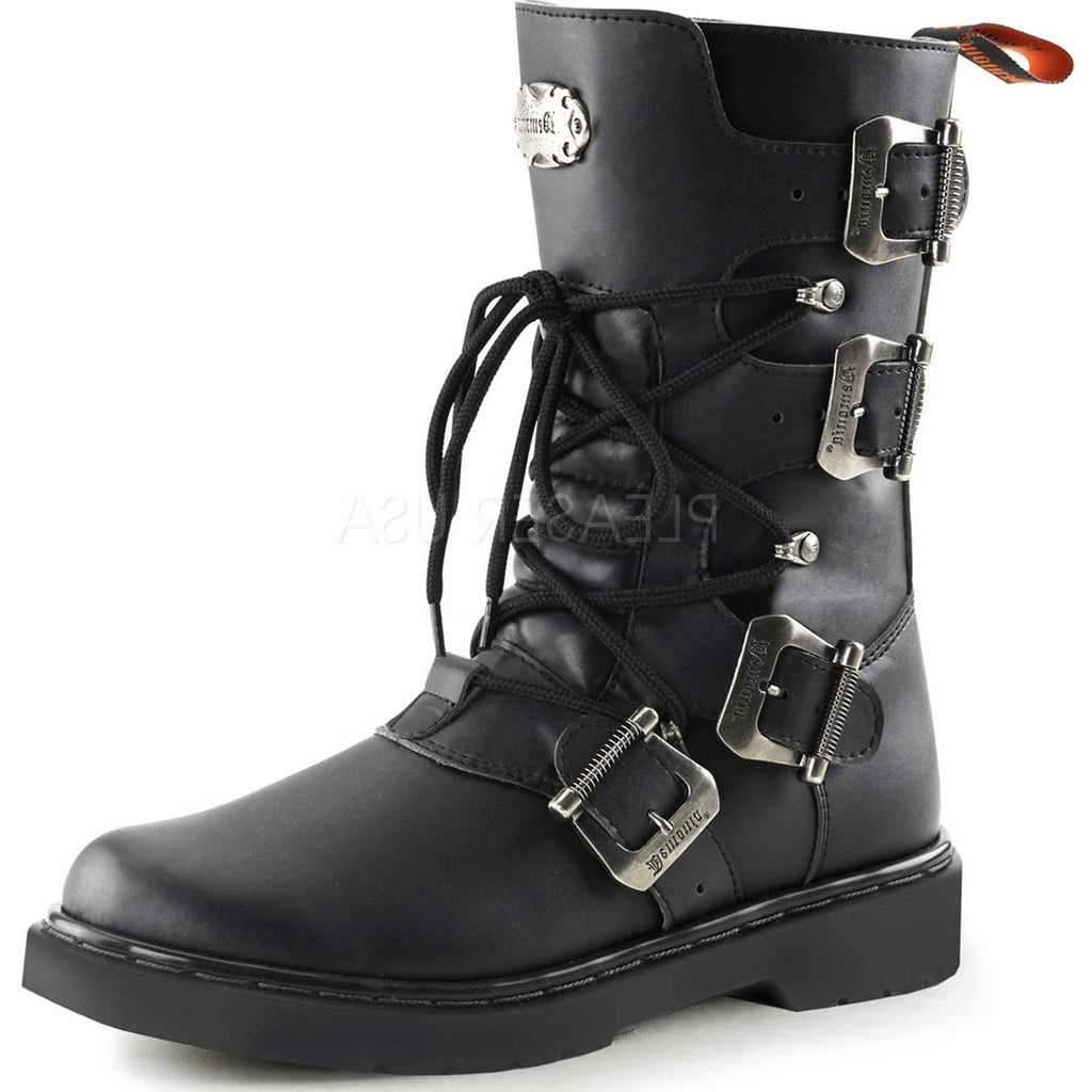 Black Alternative Goth Punk Multi Buckle Lace Up Military Mid Calf Combat Boots