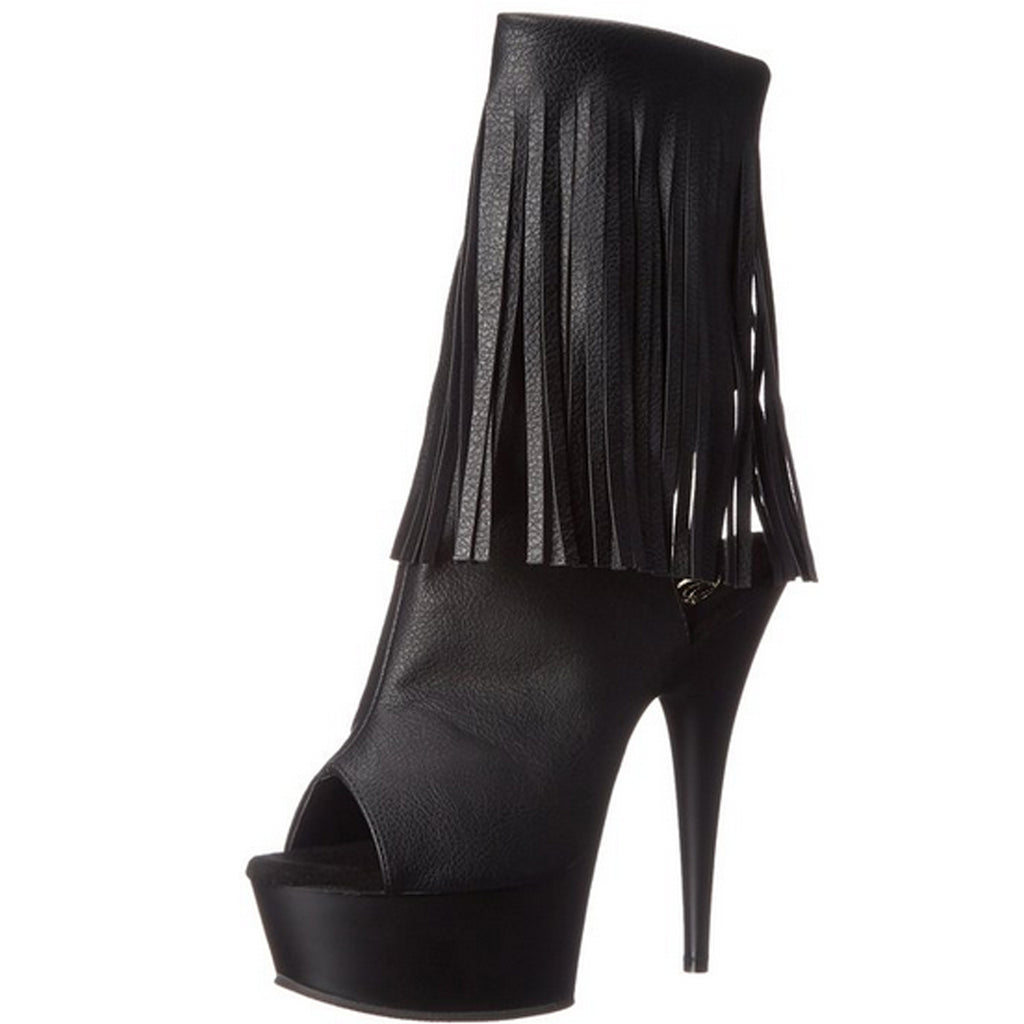 Black PU Fringed Lace Up Ankle Boots Platform Sexy Exotic Dancing High Heel