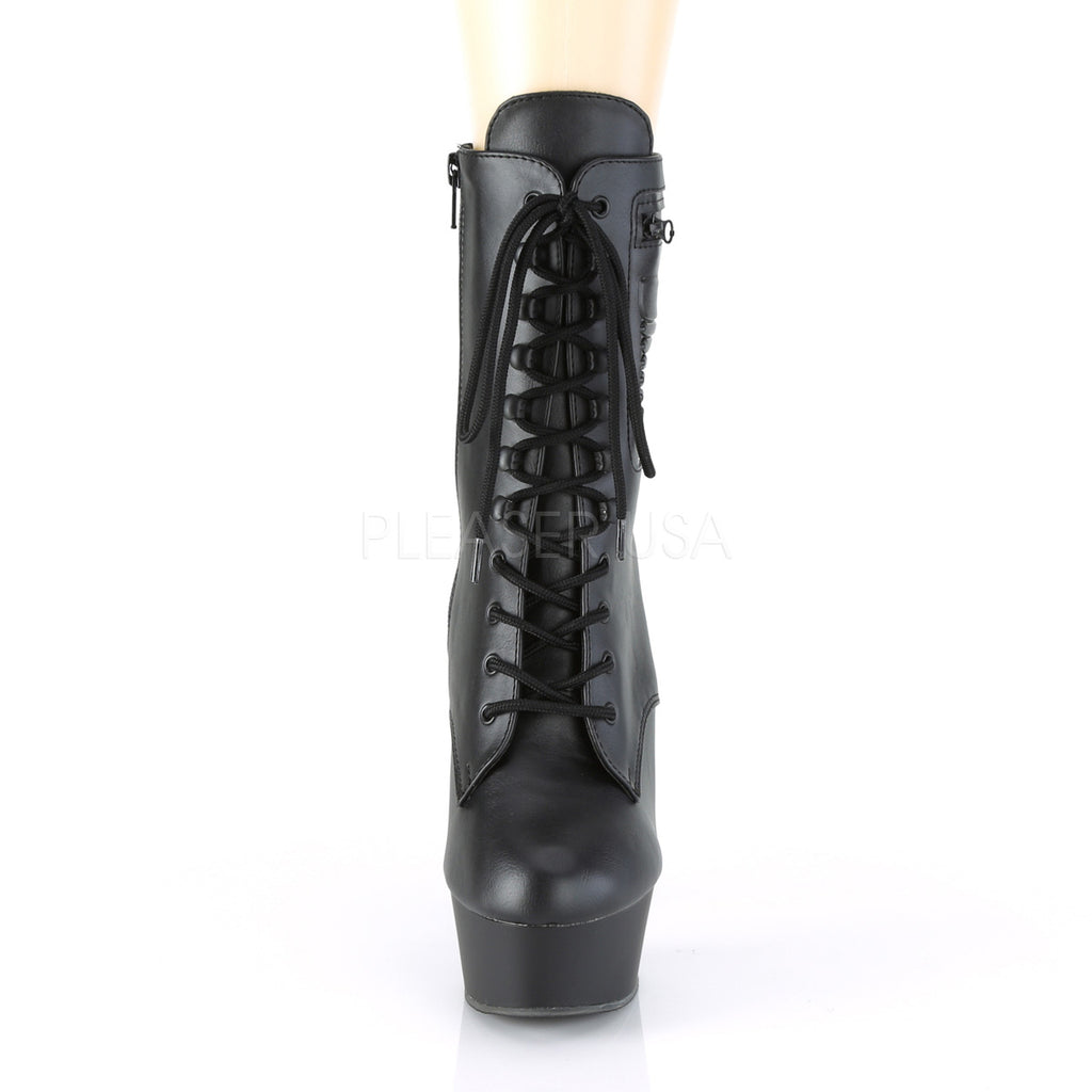Black Matte Lace Up Ankle Boots Platform Exotic Dancing Clubwear High Heels