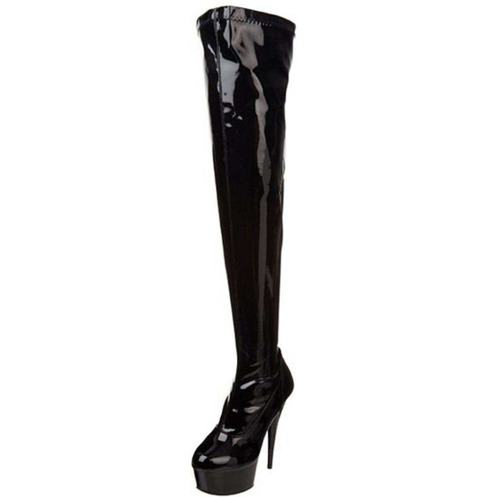 Black Stretch Patent Thigh High Boots Exotic Dancing Clubwear Heels Platform