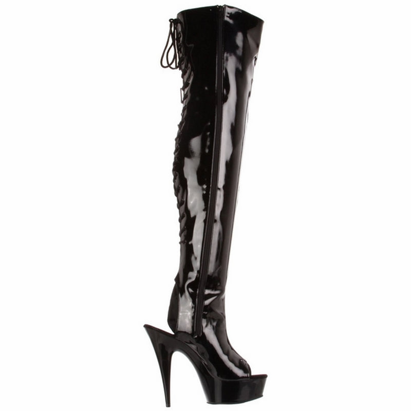 Black Stiletto Stretch Patent Thigh High Boots Exotic Dancing Clubwear Platform