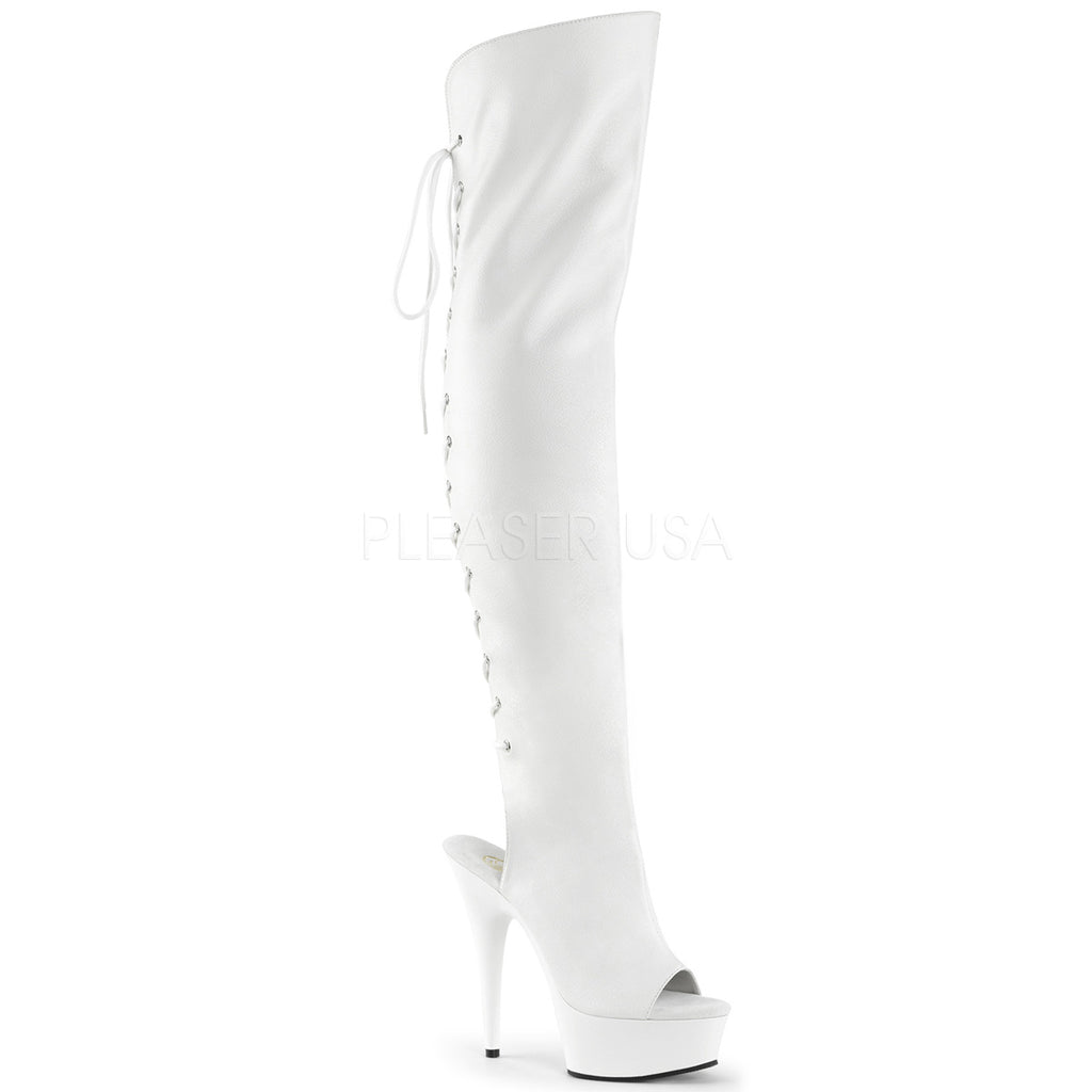 White PU Stretch Thigh High Boots Exotic Dancing Clubwear High Heel Platform