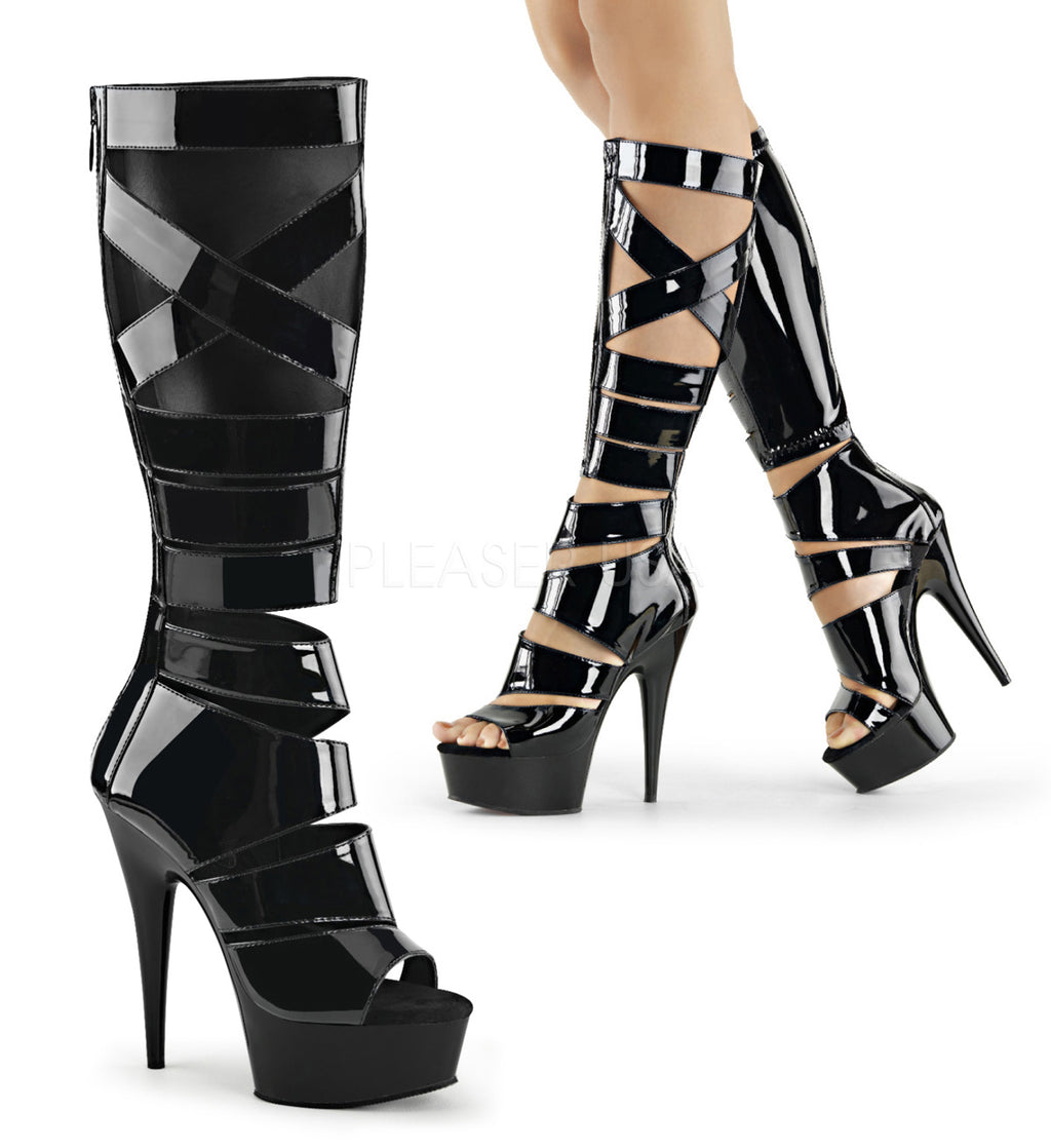 Black Stretch Patent Gladiator Knee High Boot Exotic Clubwear High Heel Platform