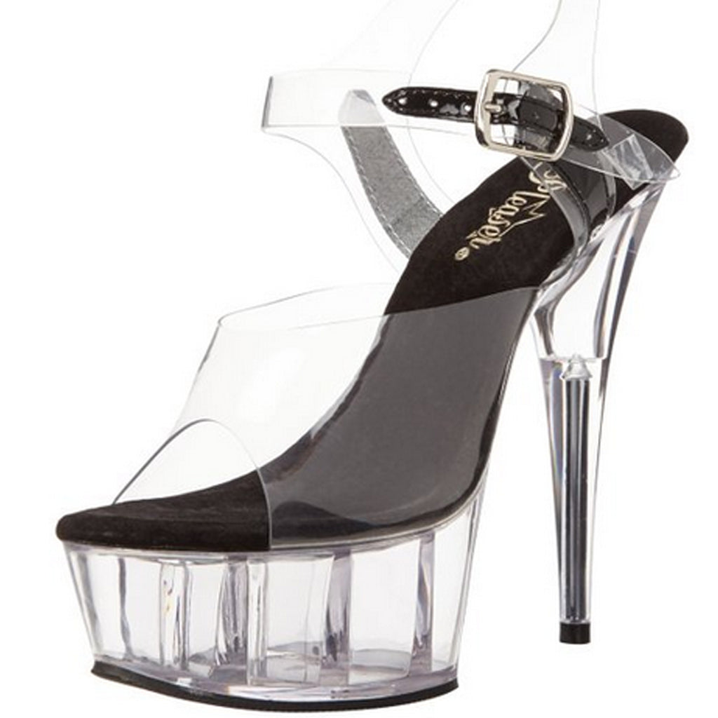 Black Clear Ankle Strap Sandal Platform Stripper Exotic Dancing High Heels Shoes