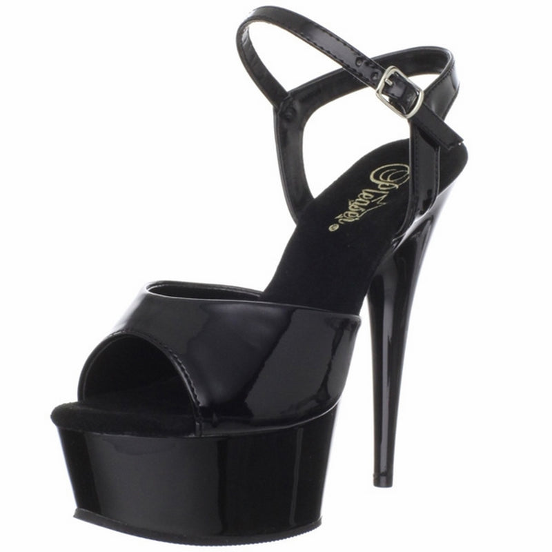 Black Patent Ankle Strap Sandal Platform Sexy Exotic Dancing High Heels Shoes