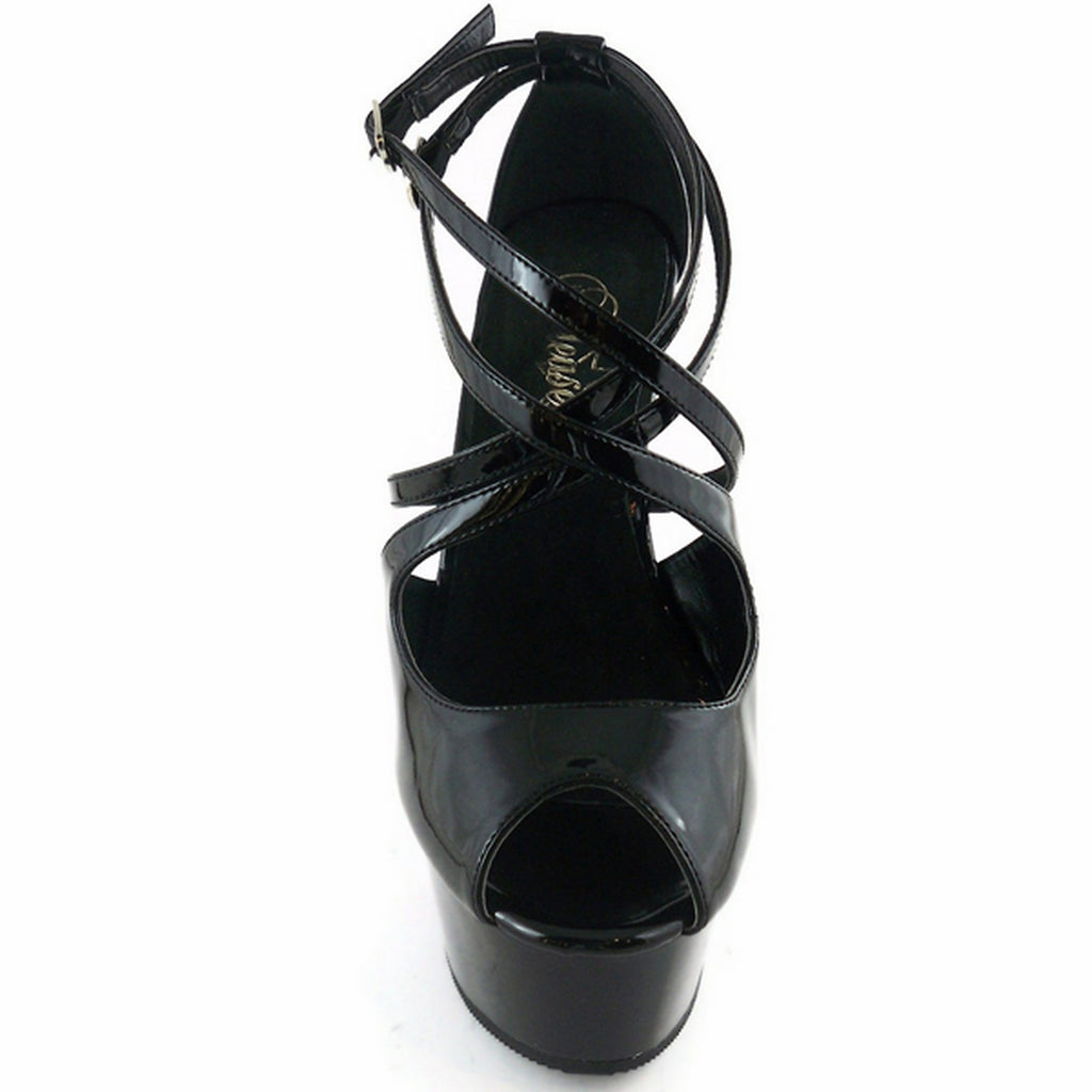 Black Double Criss Cross Ankle Strap Sandal Platform Sexy Exotic High Heel Shoes