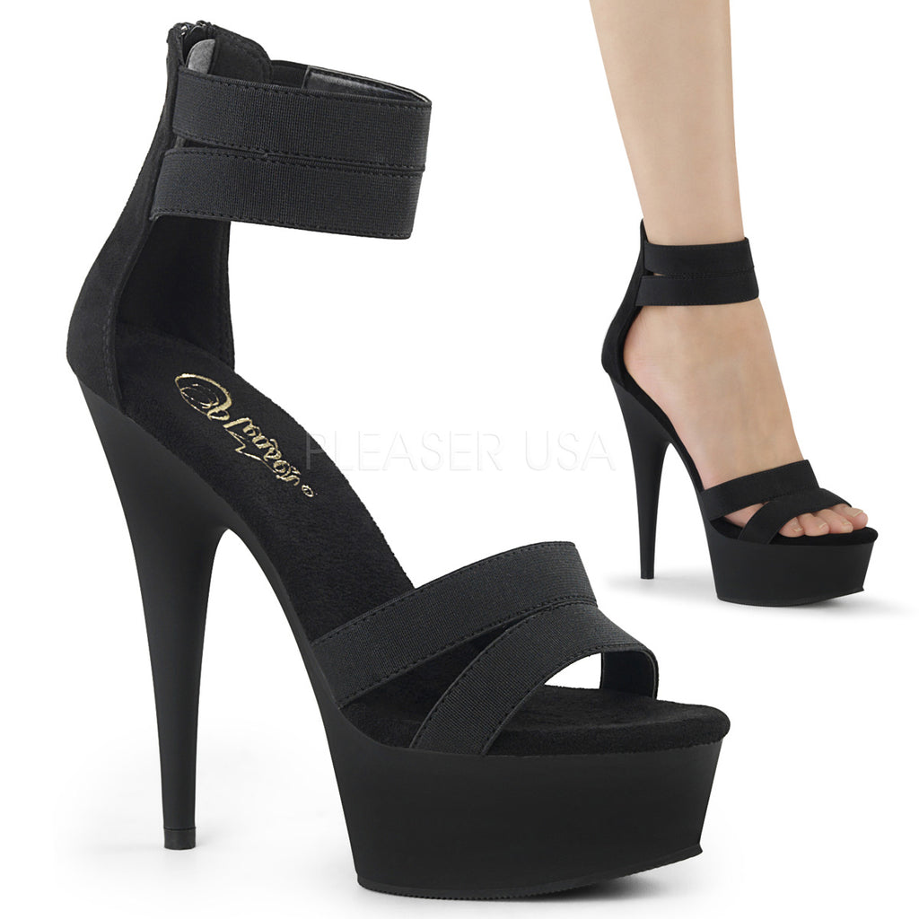 Black Elastic Band Ankle Strap Sandals Platform Stripper Exotic High Heels Shoes