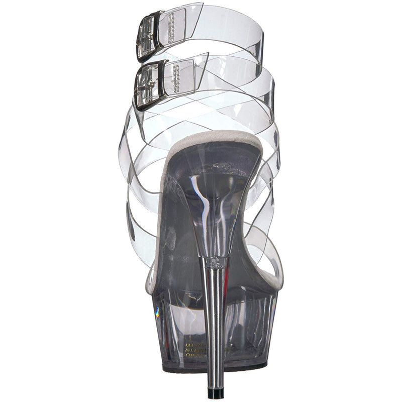 Clear Double Criss Cross Sandals Platform Stripper Exotic Dancer High Heel Shoes