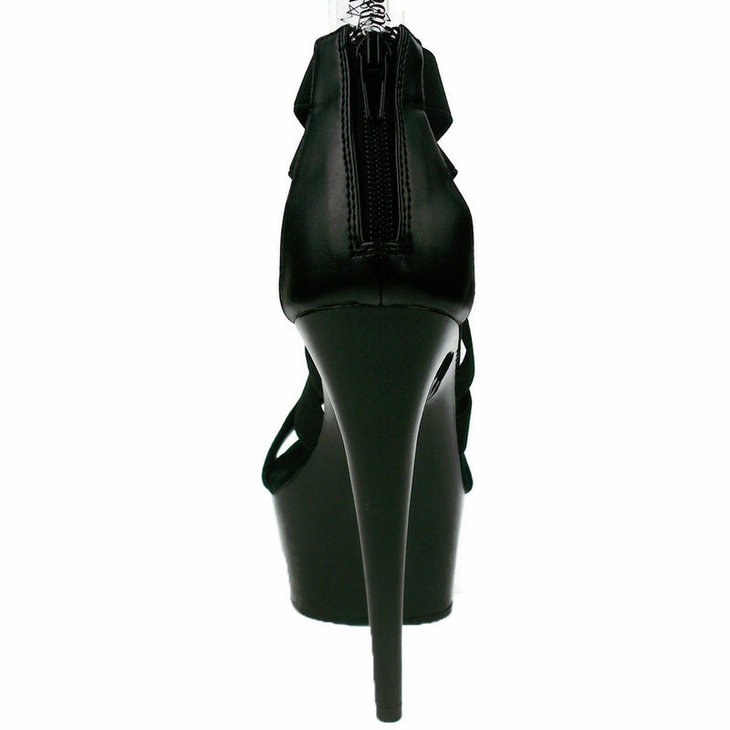 Black Elasticated Criss Cross Sandals Bootie Platform Exotic Pole Dance Shoes