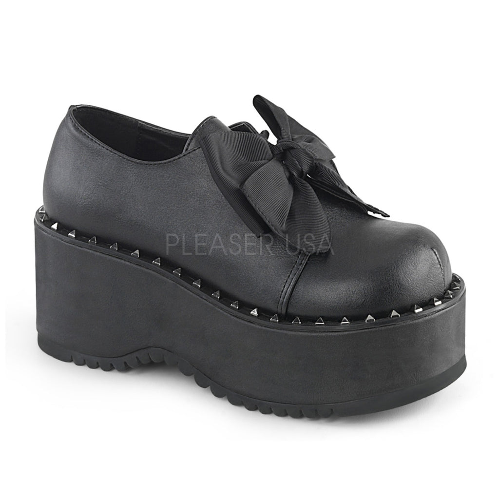 Black Vegan Leather Womens Platform Lace Up Oxford Shoes Bow Pyramid Studded