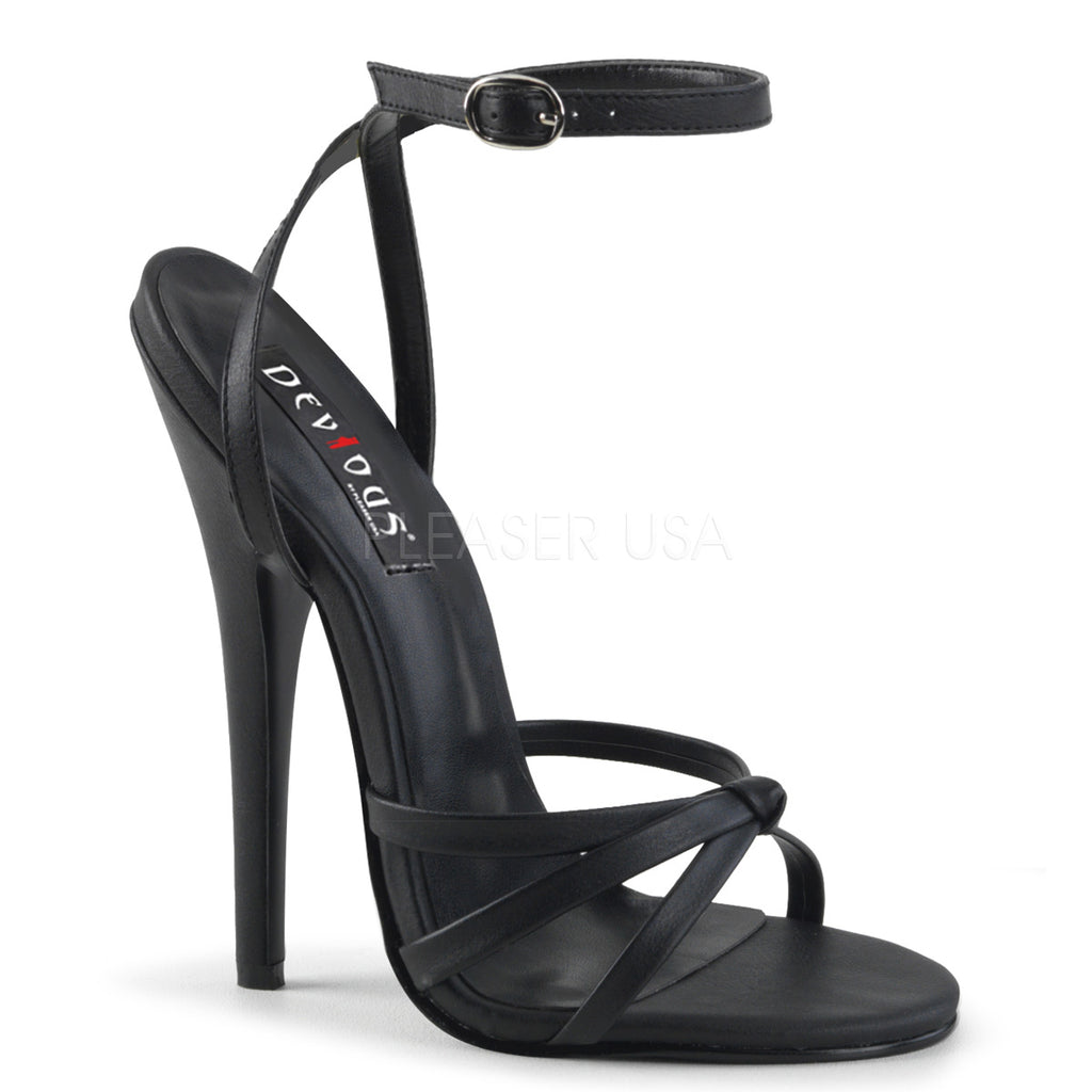Black PU Womens Wrap Around Knotted Strap Sandals Sexy Fetish High Heel Shoes