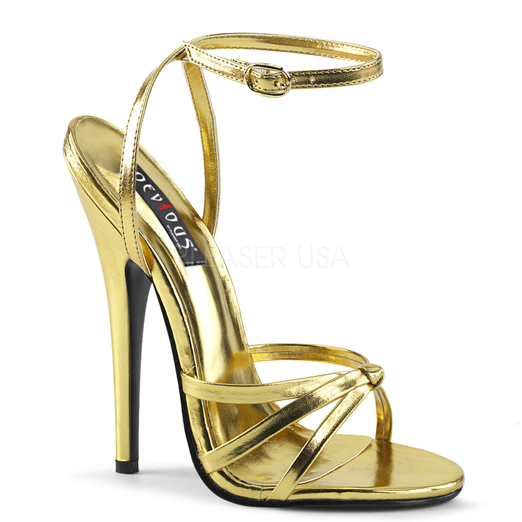 Gold Metallic Womens Wrap Around Knotted Strap Sandals Fetish High Heel Shoes