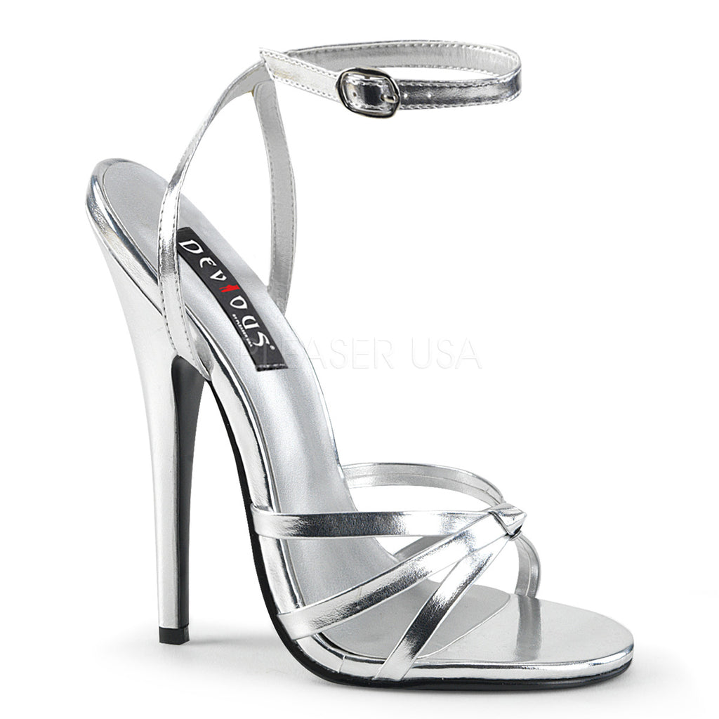Silver Metallic Womens Wrap Around Knotted Strap Sandals Fetish High Heel Shoes