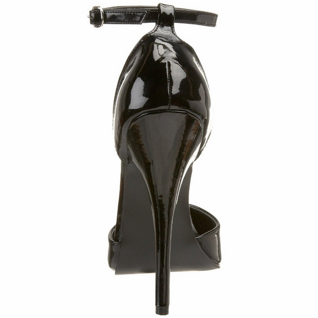 Black Patent Womens Ankle Strap D'Orsay Pumps Club Fetish Stiletto High Heel