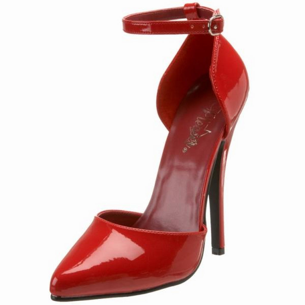 Red Patent Womens Ankle Strap D'Orsay Pumps Club Fetish Stiletto High Heels