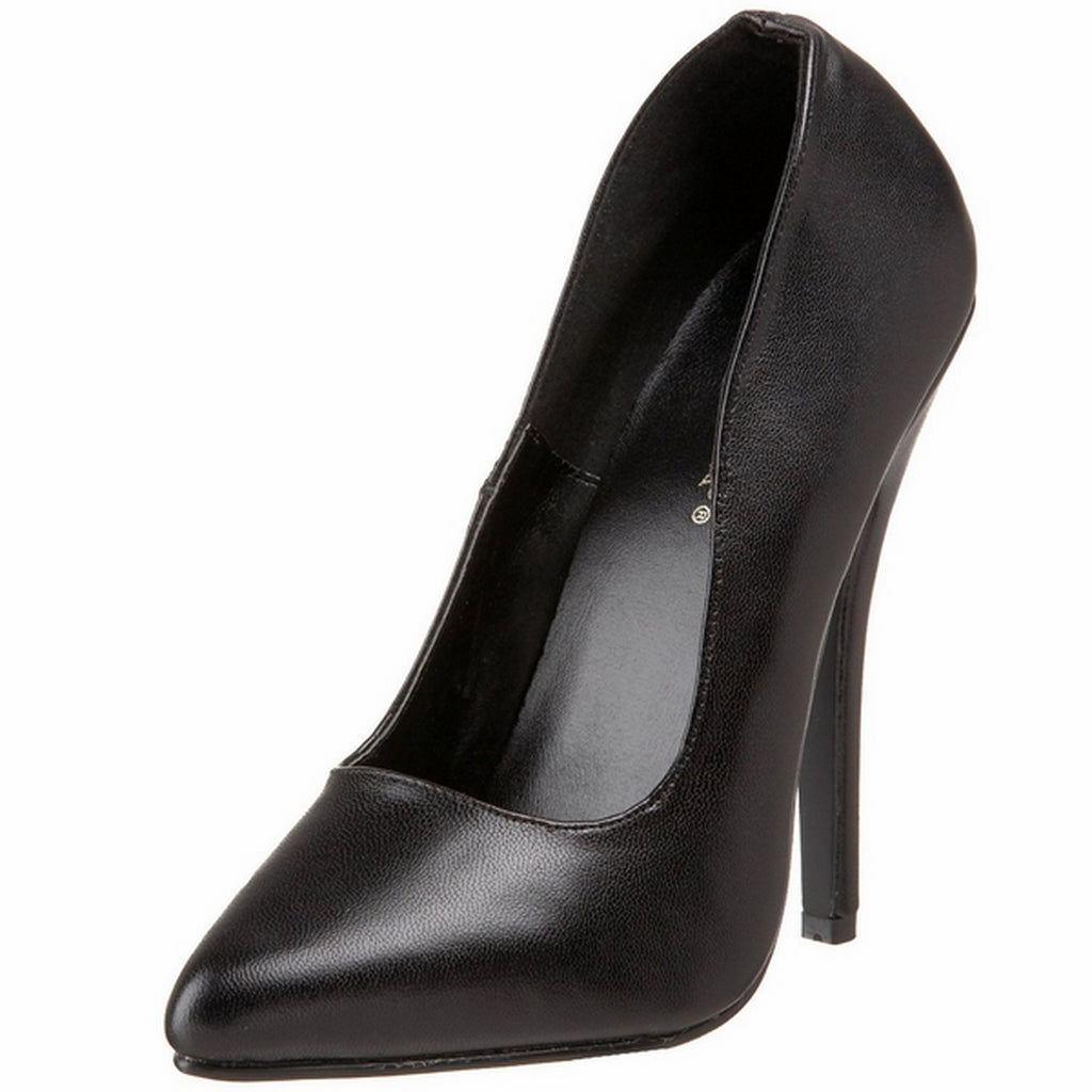 Black Leather Womens Slip On Classic Pumps Court Fetish Stiletto High Heel Shoes