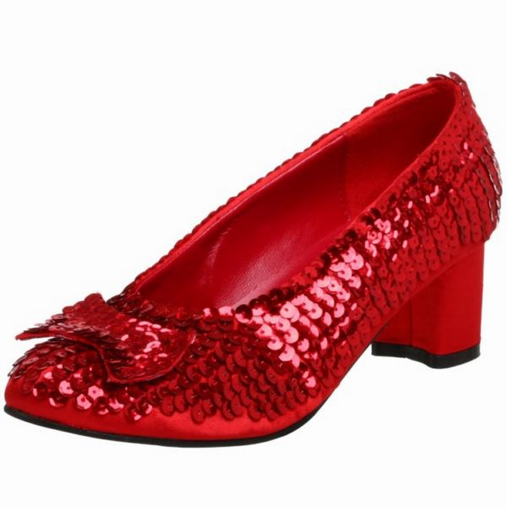 Red Sequined Womens Dorothy Shoes Costume Wizard Of Oz Ruby Slippers Pumps