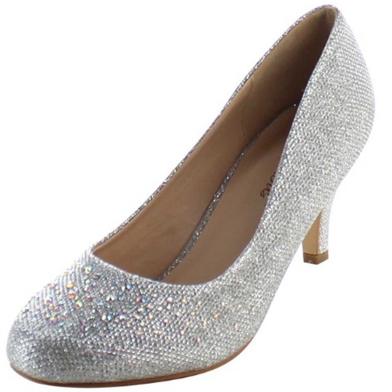 Silver Glitter Kitten Heel Party Prom Bridal Pumps Shoes FABULICIOUS Doris-06