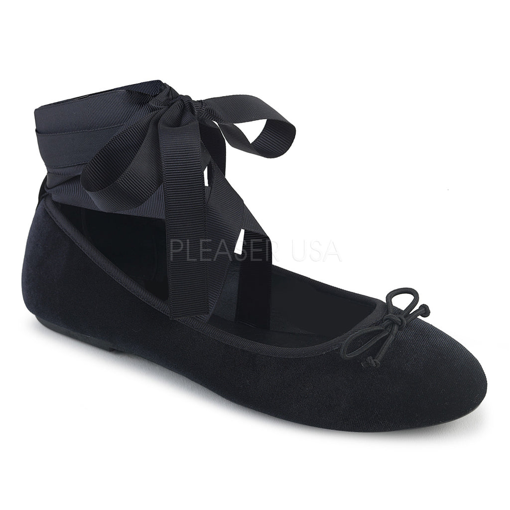 Black Velvet Ankle Ribbon Mary Jane Ballet Flats Alternative Goth Punk Shoes