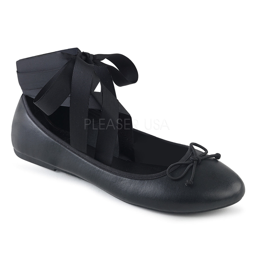 Black Vegan Leather Ankle Ribbon Mary Jane Flats Alternative Goth Punk Shoes
