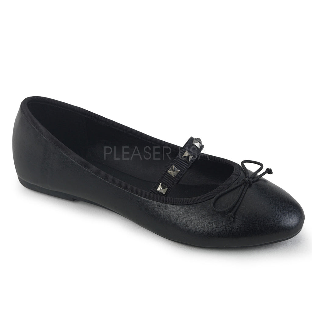 Black Vegan Leather Mary Jane Ballet Flats Alternative Shoes Goth Punk Round Toe