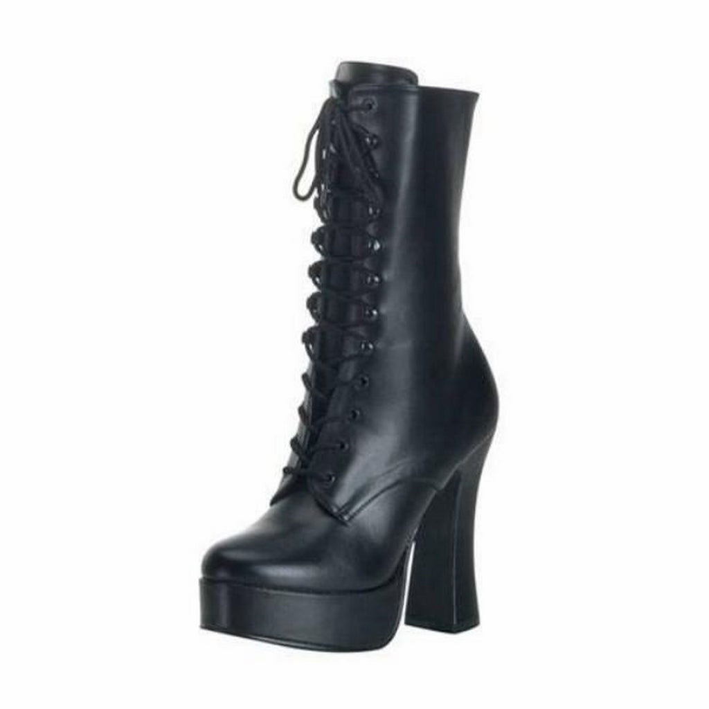 Black PU Womens Lace Up Ankle High Boots Sexy Exotic Dancing Clubwear High Heel