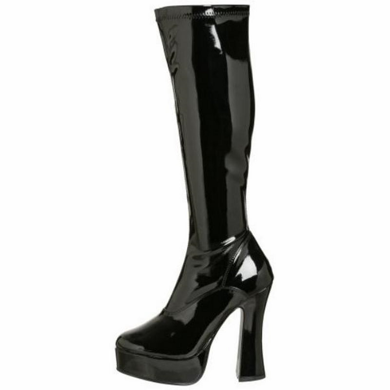 Black Stretch Patent Womens Knee High Boots Gogo Platform Sexy Exotic High Heel