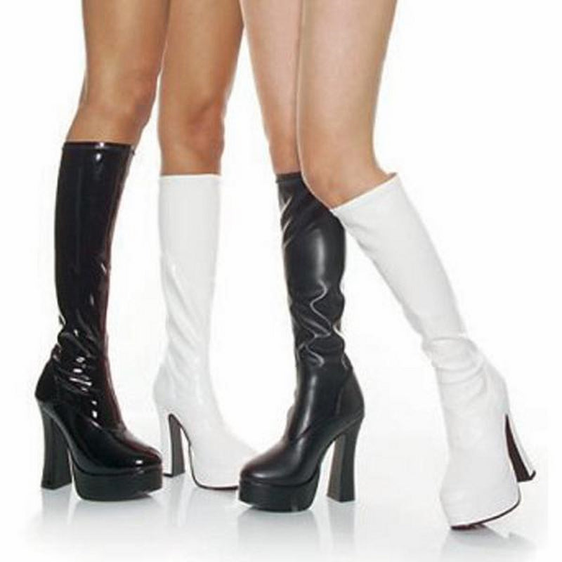 White Stretch PU Womens Knee High Boots Gogo Platform Sexy Exotic High Heel