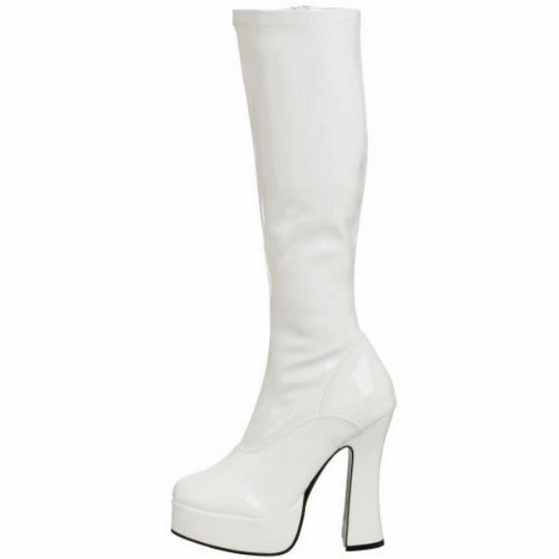 White Stretch Patent Womens Knee High Boots Gogo Platform Sexy Exotic High Heel