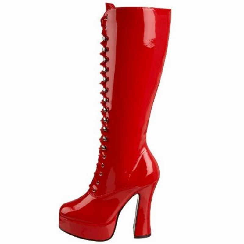 Red Patent Womens Lace Up Knee High Boots Gogo Platform Sexy Exotic High Heel