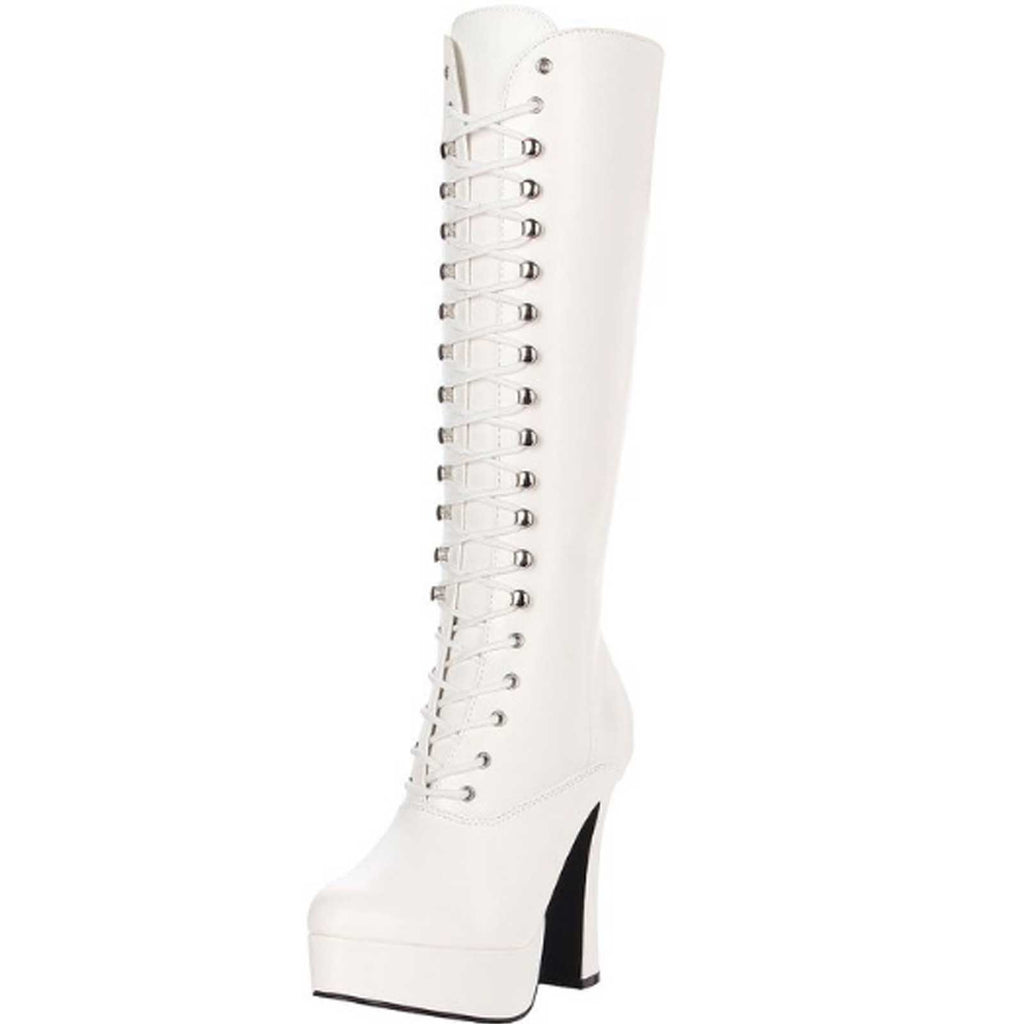 White PU Womens Lace Up Knee High Boots Gogo Platform Sexy Exotic High Heel