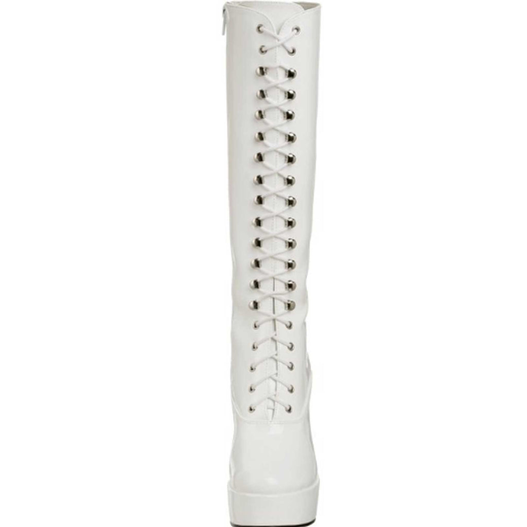 White Patent Womens Lace Up Knee High Boots Gogo Platform Sexy Exotic High Heel