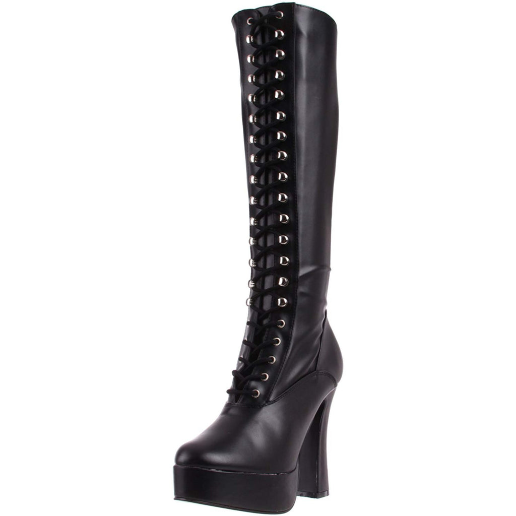 Black Stretch PU Lace Up Knee High Boots Platform Sexy Exotic Dance Chunky Heel