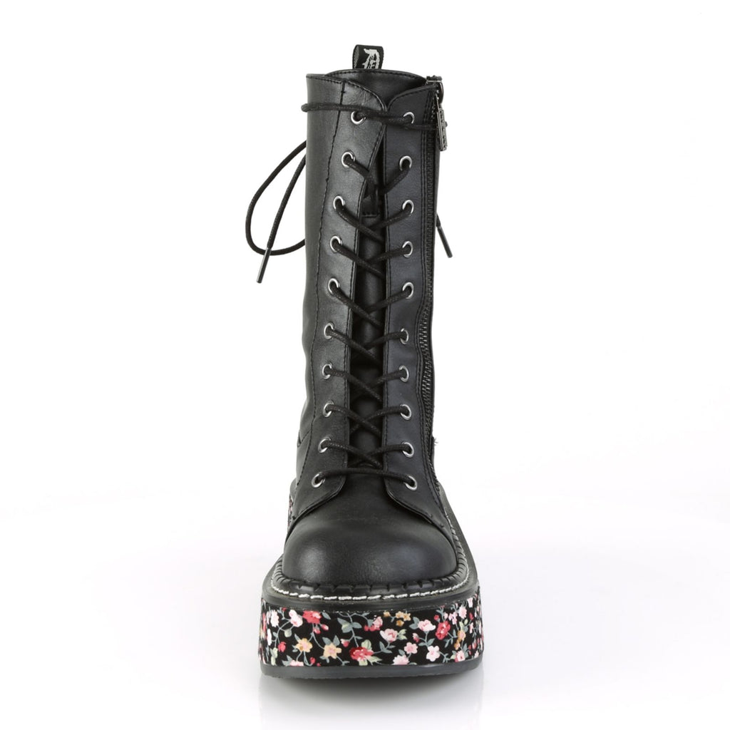 Black Floral Vegan Leather Mid Calf Combat Boots Platform Goth Punk Alternative