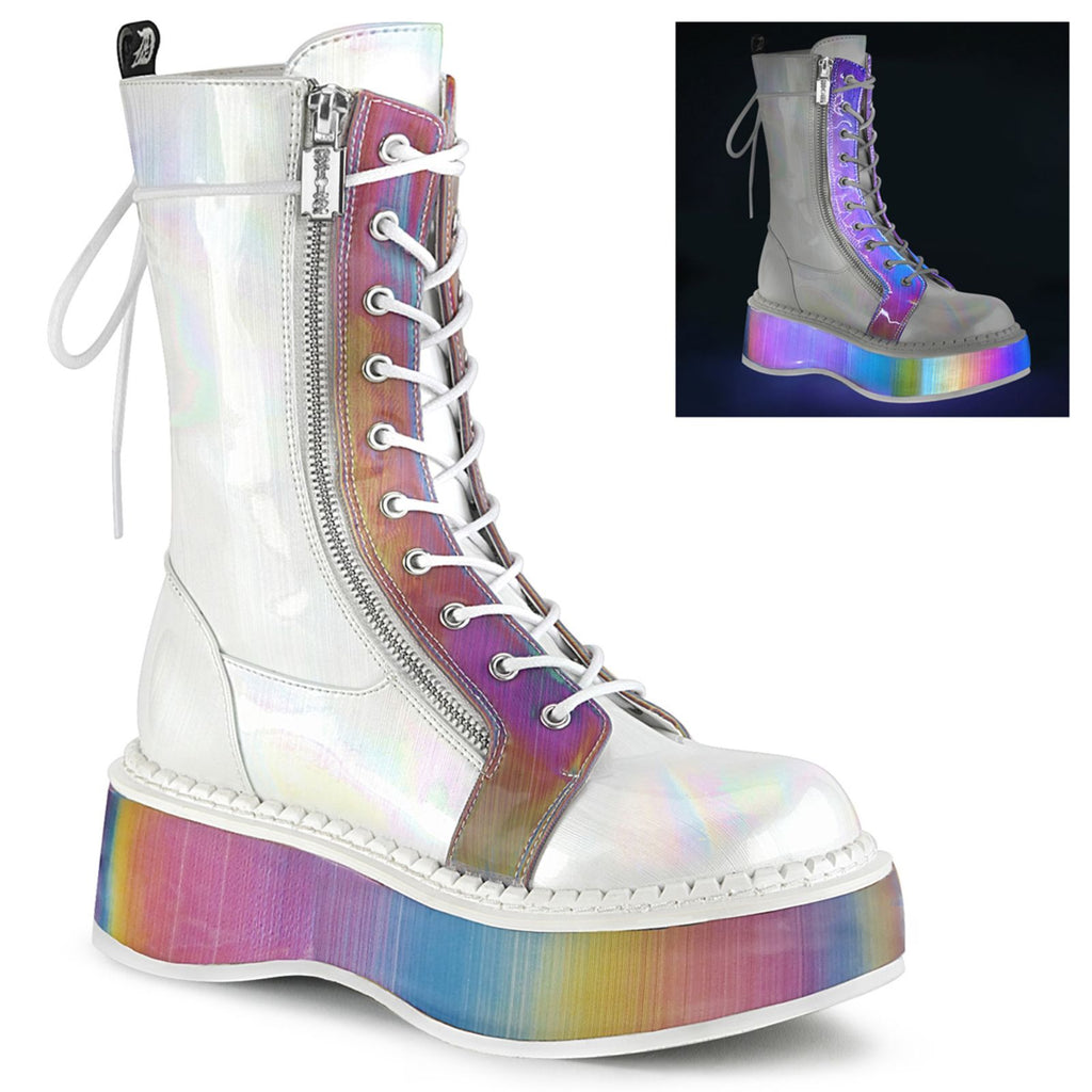 White Hologram Vegan Leather Women Goth Punk Platform Mid Calf Boots Alternative