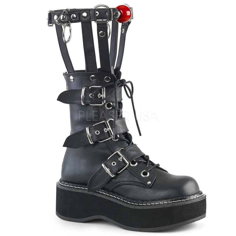 Black Vegan Leather Punk Goth Bondage Cage Lace Up Wedge Platform Mid Calf Boots