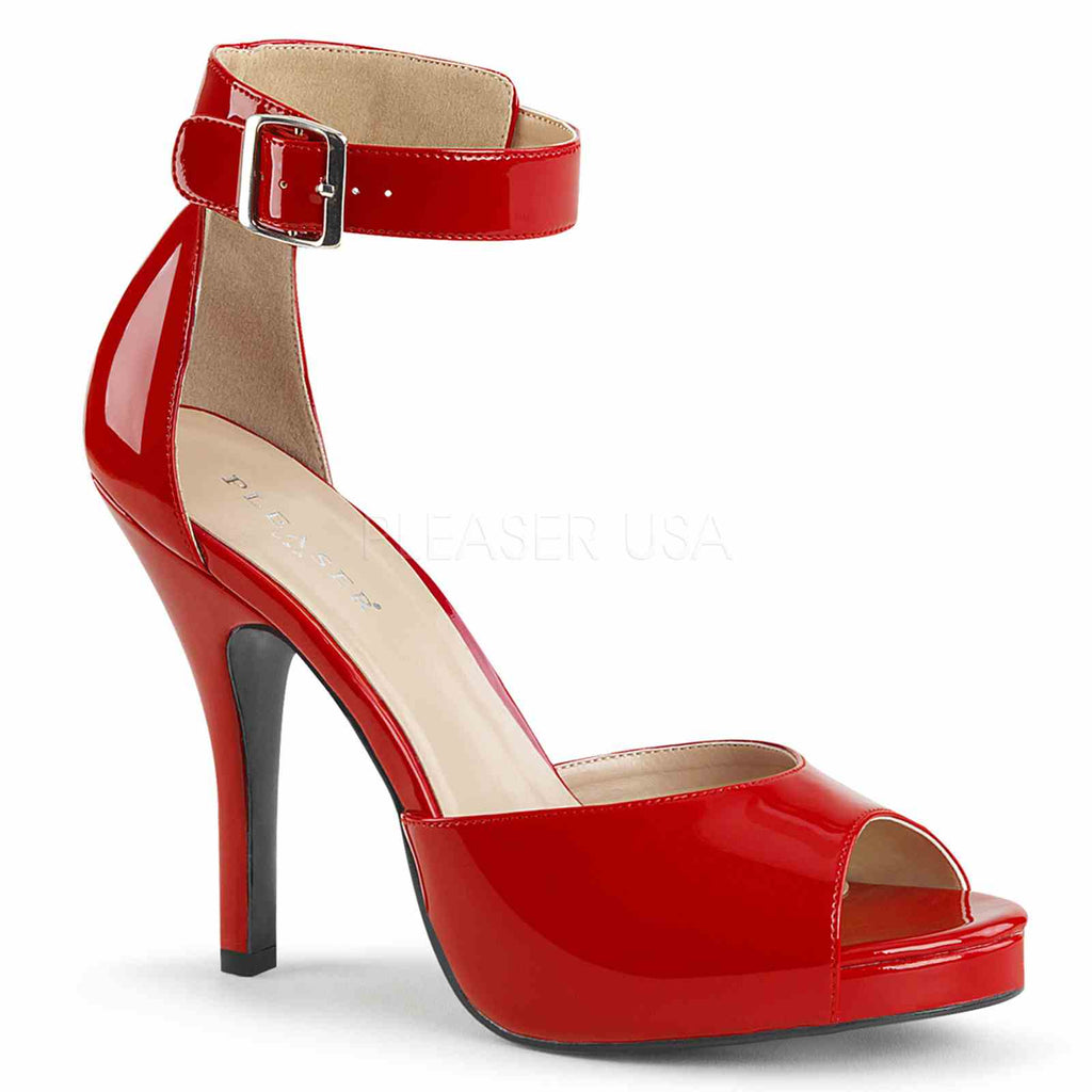 Red Patent Womens Buckled Ankle Strap Sandals Platform Dress High Heels Shoes