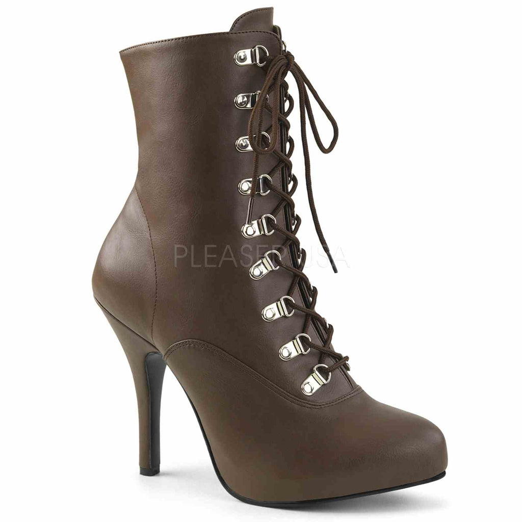 Brown PU Womens Front Lace Up Ankle Mid Calf Boots Platform Victorian Costume
