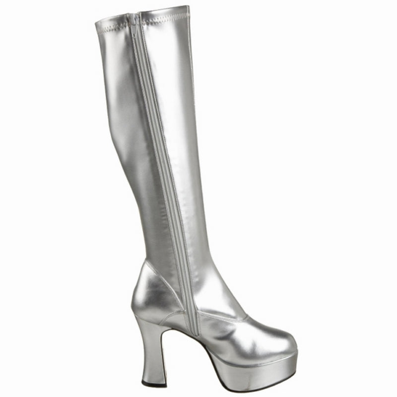 Silver Patent Stretch GoGo Knee Boots Chunky Heel Platform Funtasma EXOTICA-2000