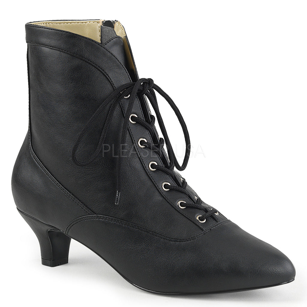Black PU Womens Lace Up Ankle Boots Vintage Retro Granny Style Single Sole