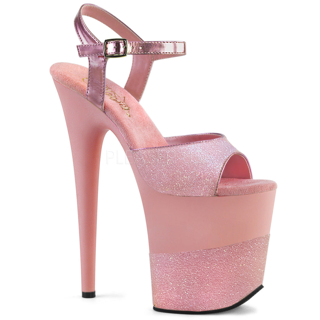 Baby Pink Glitter Ankle Strap Sandal Sexy Pole Dancing Platform High Heels Shoes