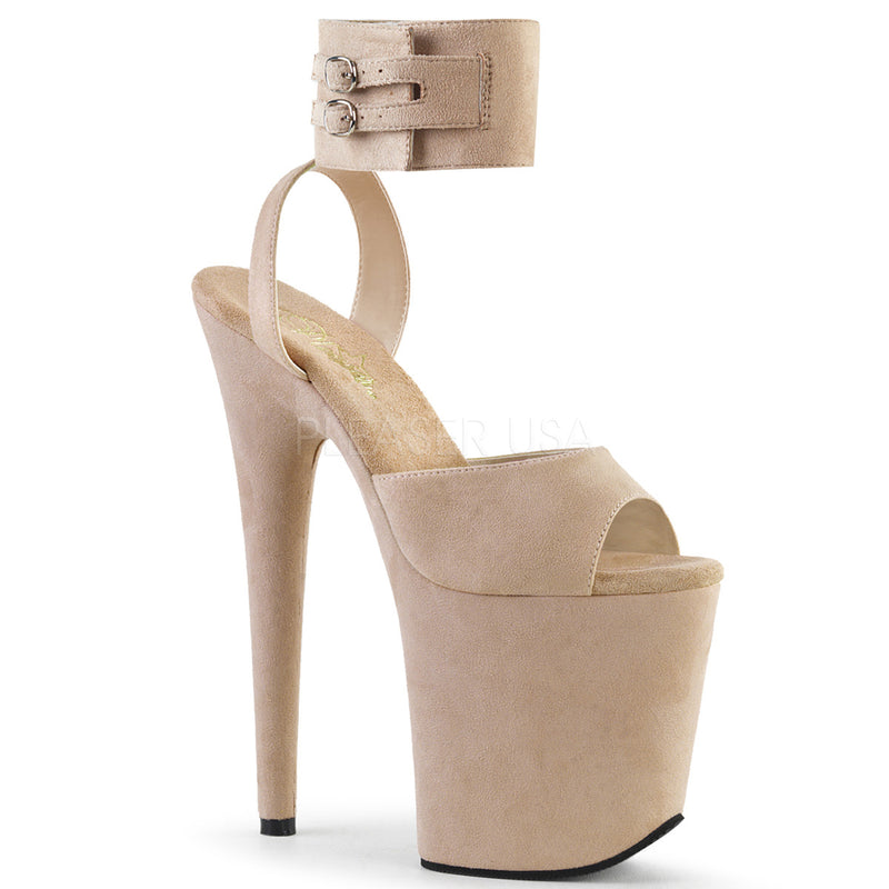 Beige Faux Suede Ankle Cuff Sandal Exotic Pole Dancing High Heels Platform Shoes