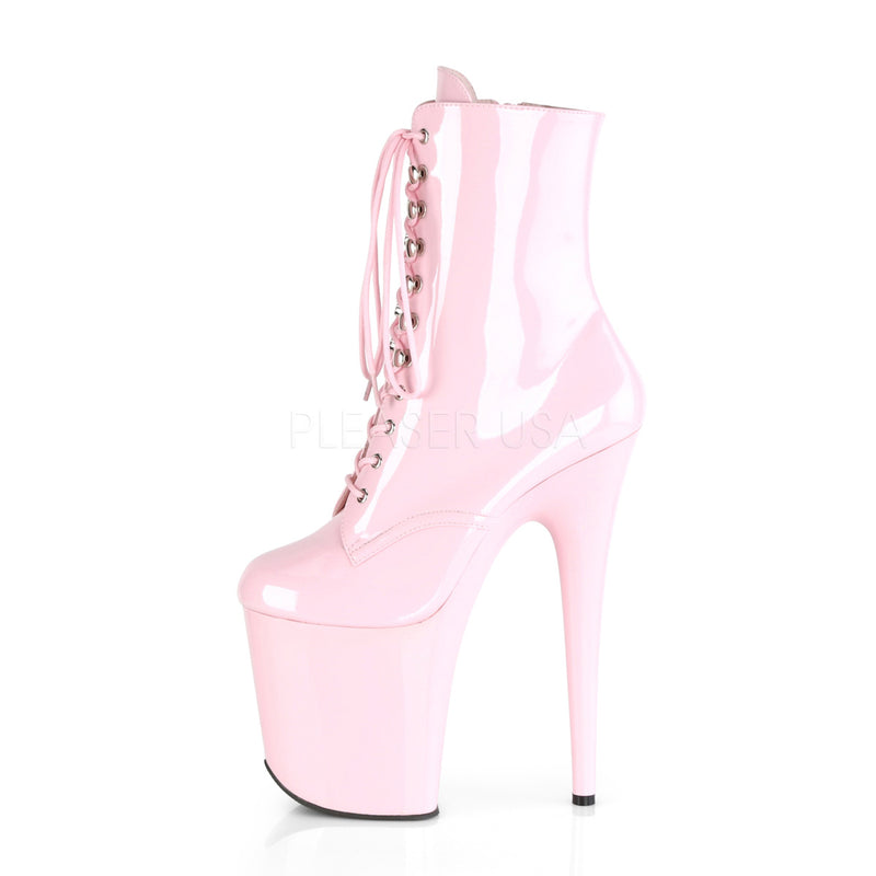 Baby Pink Patent Platform Lace Up Ankle Boots Stripper Sexy Exotic Pole Dancing