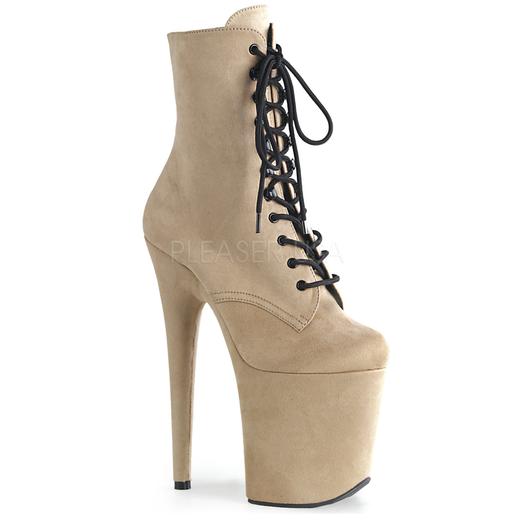 Beige Faux Suede Platform Lace Up Ankle Boots Stripper Sexy Exotic Pole Dancing