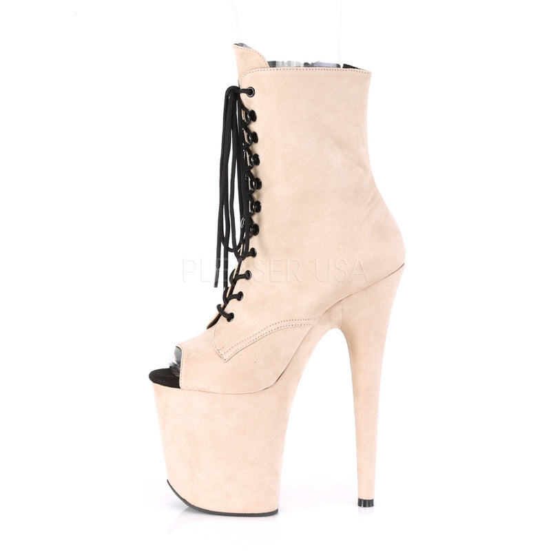 Beige Faux Suede Platform Lace Up Ankle Boots Sexy Exotic Pole Dance Stripper