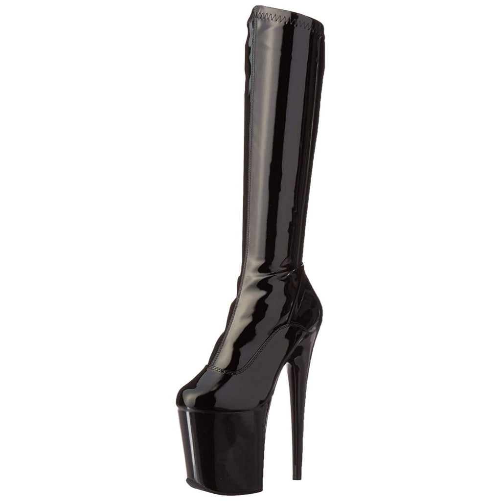 Black Stretch Patent Platform Knee High Boots Stripper Sexy Exotic Pole Dancing