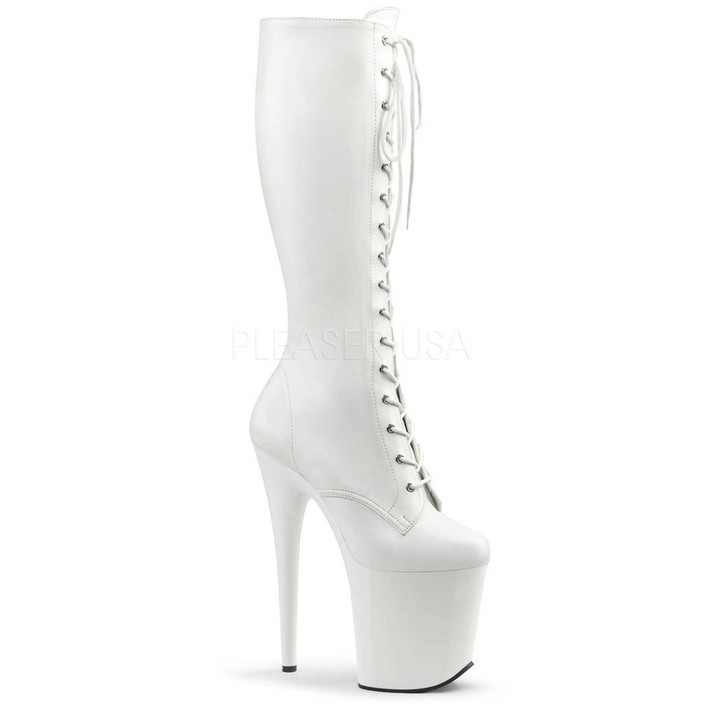 White Stretch PU Platform Lace Up Knee High BootS Stripper Sexy Exotic Fetish